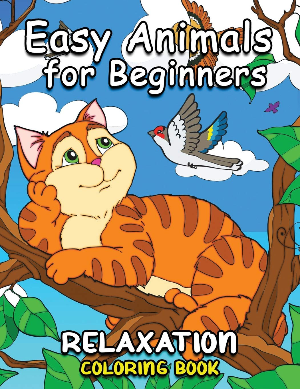 Easy animals for beginners easy and beautiful animals coloring pages for adults paperback december 7 2018