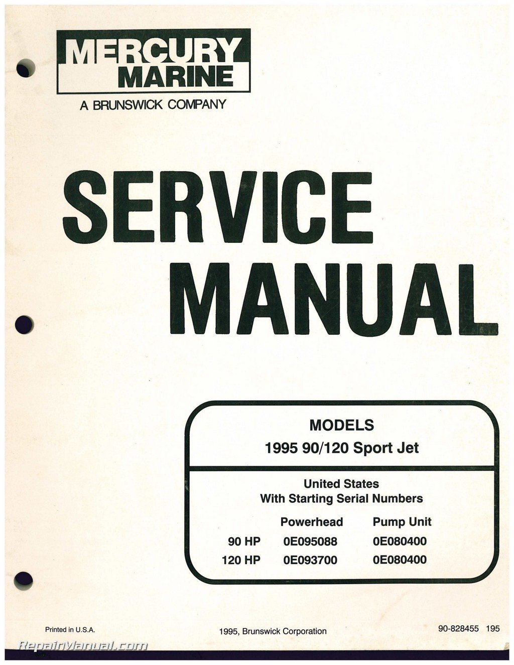 90-828455 Used 1995 Mercury 90/120 Sport Jet Engine Service Manual:  Manufacturer: Amazon.com: Books