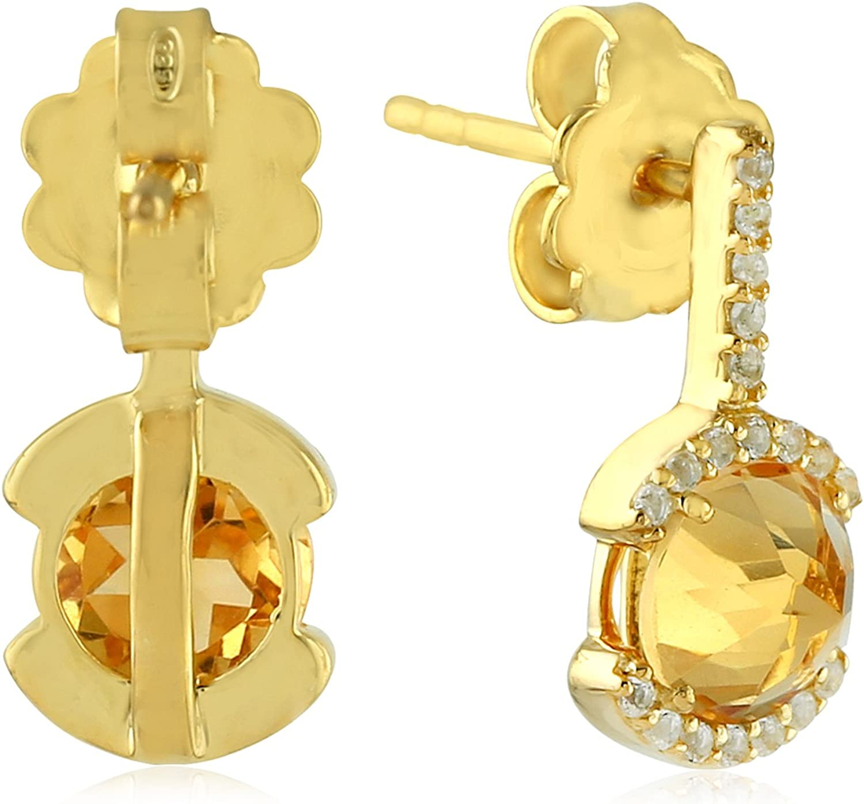 Faceted Citrine 11X10 mm Gemstone Earrings .925 Sterling Silver 13 Grams 1 34 Hanging Length