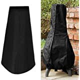 """Wellbeing Patio Chiminea Cover Waterproof Outdoor Garden Chimney Fire Pit Heater Cover UV Protective Water Resistance Durable 24""""Dia x 48""""H Black"""