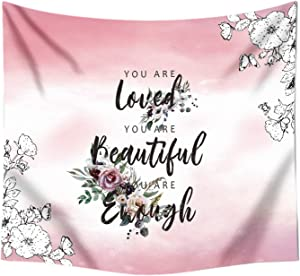Tapestry for Bedroom teen girl Wall Decor Floral Tapestry with Words Quote You are Tapestry Pink Room for Women Positive Affirmations Wall Aesthetic Inspirational Tapestry Wall Hanging
