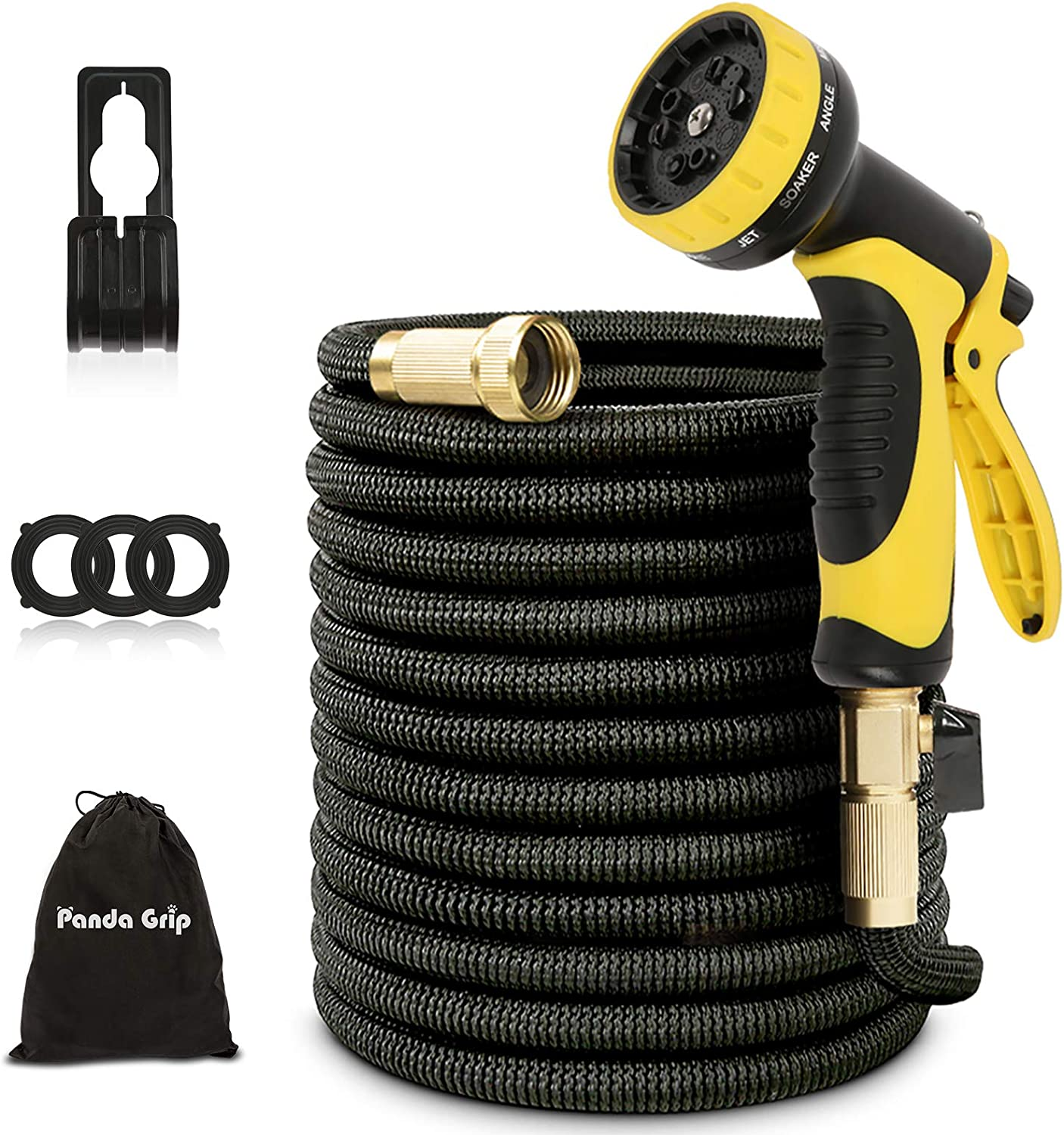 """Expandable Garden Hose 75 ft with 10 Function Spray Nozzle, 3 Times Expanding Water Hose with 3/4"""" Solid Brass Fittings for Watering Garden, Washing Car, Pet Cleaning (75ft)…"""
