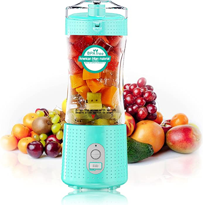 Portable Blender Juicer Cup, Travel Blender Bottles with USB Rechargeable for Shakes and Smoothies, Handheld Use in Sports, Gym, Outdoors, Muzpz Personal mini 13 Oz Blender for Kitchen (Mint Green)