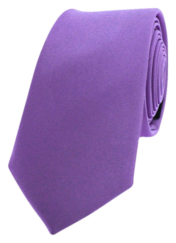 David Van Hagen Mens Luxury Thin Satin Silk Tie Light Lilac