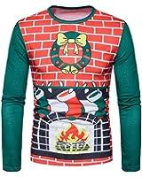 Elecenty Herren Sweat Pullover Hemd ,Langarmshirts Aufdruck Weihnachten Aufdruck V-Ausschnitt Multicolor Knopf Herbst Winter Bluse Poloshirt Männer Hoodie Sweatshirt