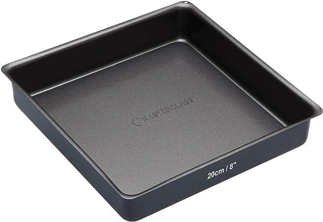 Negro Kitchencraft Master Class Molde Cuadrado para reposteria con Base Suelta 21.8x24x8.2 cm Acero