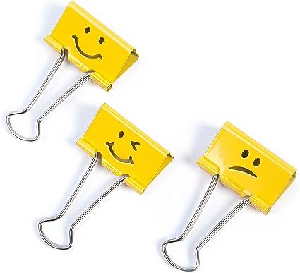 Rapesco Lot De 20 Pinces A Dessin 19 Mm Emoji Jaune Amazon Fr