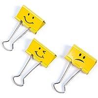 Rapesco Fold Back/Binder Clip - Emoji's, 19 mm Yellow [Pack of 20]