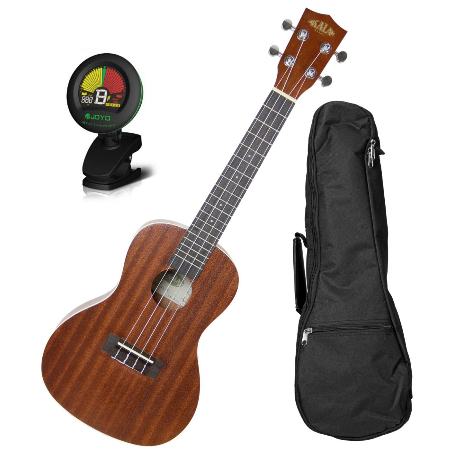 Kala KA-C Concert Satin Mahogany Ukulele w/10mm Padded Gig Bag and Tuner