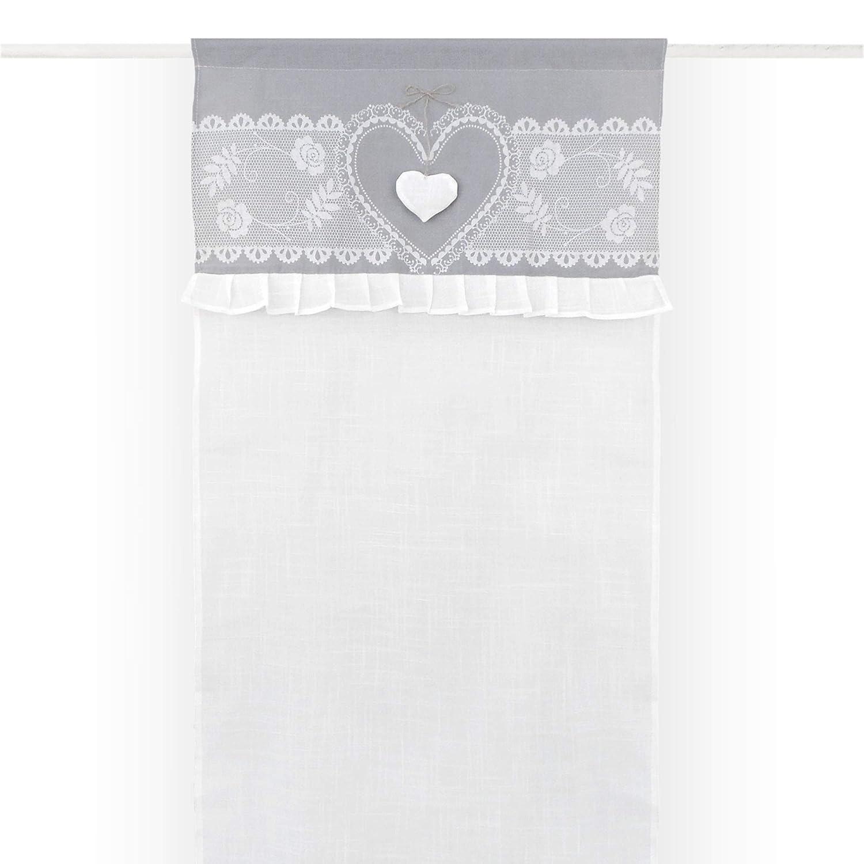 GLShabby Tenda finestra Shabby Chic con Galette 60 x 150 Colore Bianco Grigio Chiaro