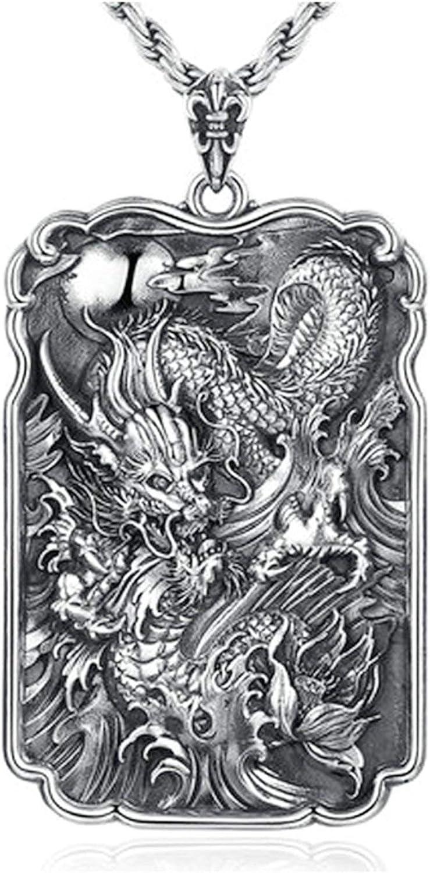 Beglie 990 - Collar de Plata de Ley para Hombre, diseño de dragón, Cadena con Colgante, Color Negro y Plateado