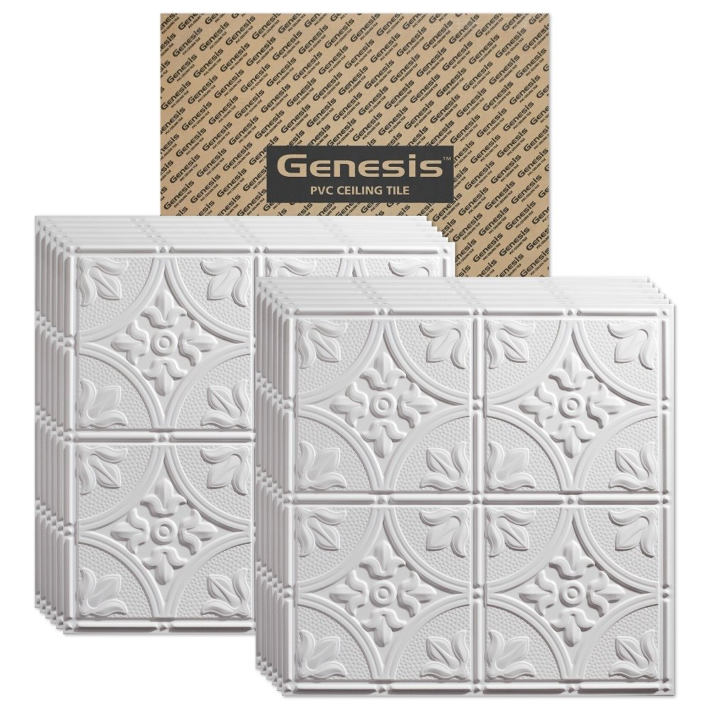 Genesis - Antique White 2x2 Ceiling Tiles 3 mm Thick (Carton of 12) - These 2'x2' Drop Ceiling Tiles are Water Proof and Won't Break - Fast and Easy Installation (2' x 2' Tile)