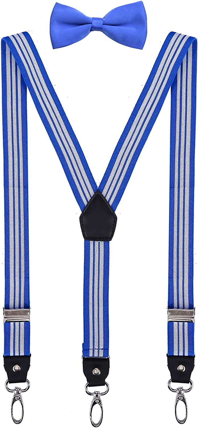 ORSKY Men Boys Suspenders and Bow Tie Adjustable Y Back with Hooks