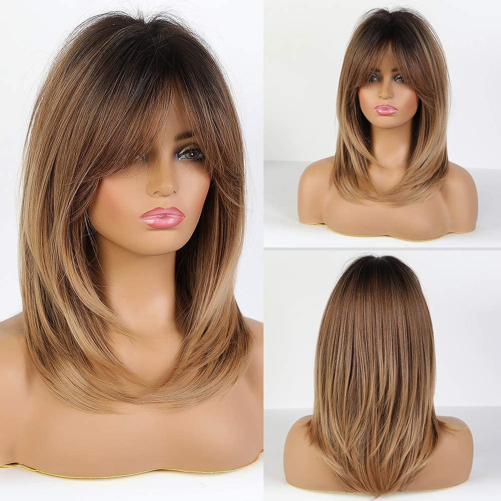EMMOR Peluca rubia larga para mujer - Pelucas sintéticas de cabello natural con explosión, uso diario para cosplay de fiesta (2 gorro de peluca gratis)