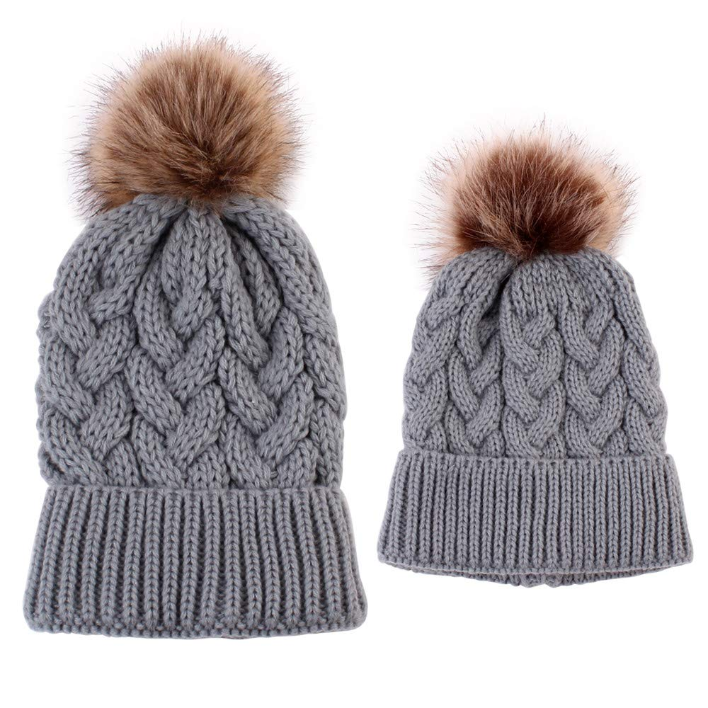 2 Pcs Mother & Baby Daughter/Son Winter Warm Hat Cap Cotton Knitted Bobble Parent-Child Hemming Beanie Hats