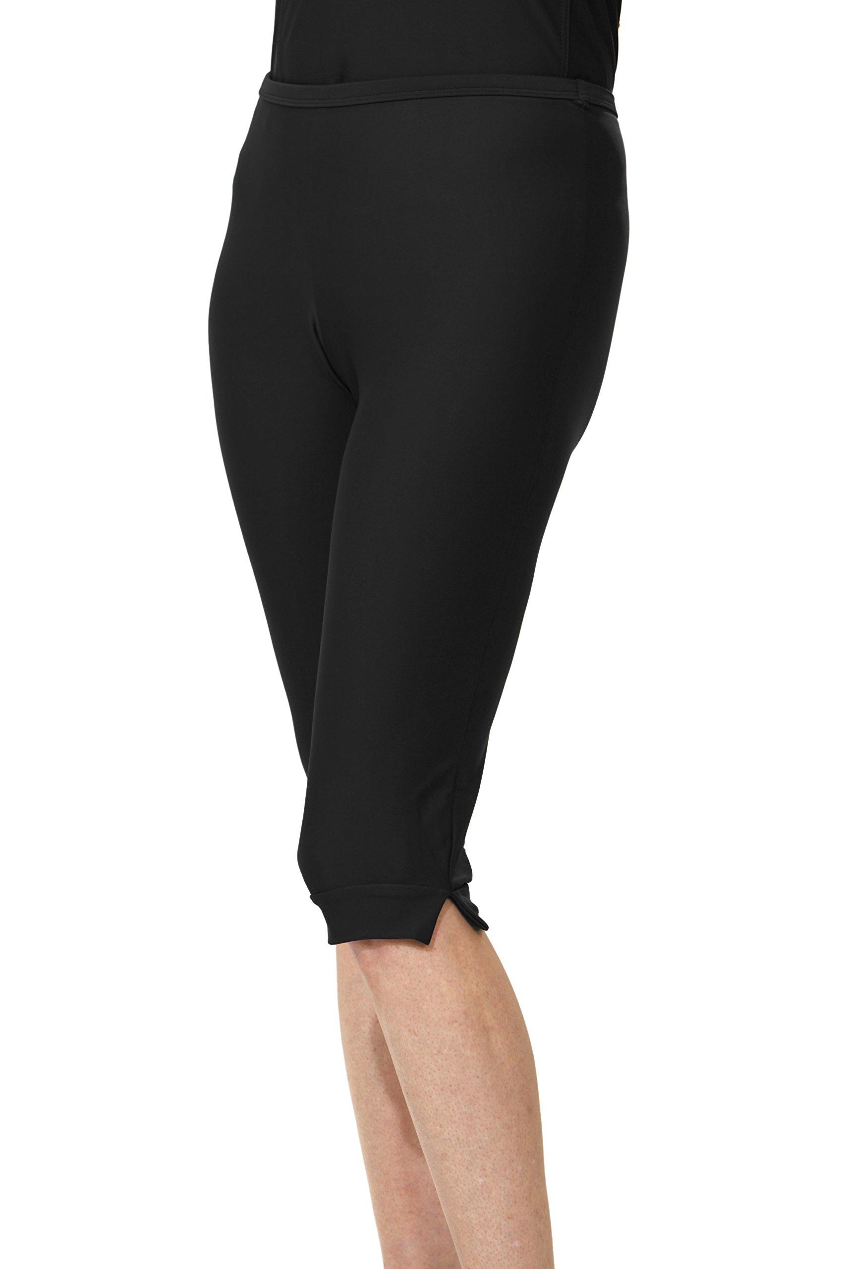 HydroChic Women's Modest Swim Shorts – Pedal Pusher Style Swimwear (Black, X-Small)
