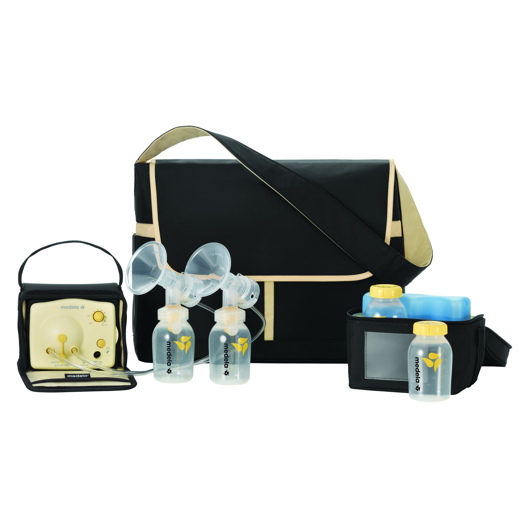 Medela Pump in Style Advanced Breast Pump, Double Electric Breast Pump Kit, Portable Battery Pack, Stylish Microfiber Messenger Bag, Removable Cooler, Contoured Ice Pack, Bottles,2 Breast Shield Sizes by Medela