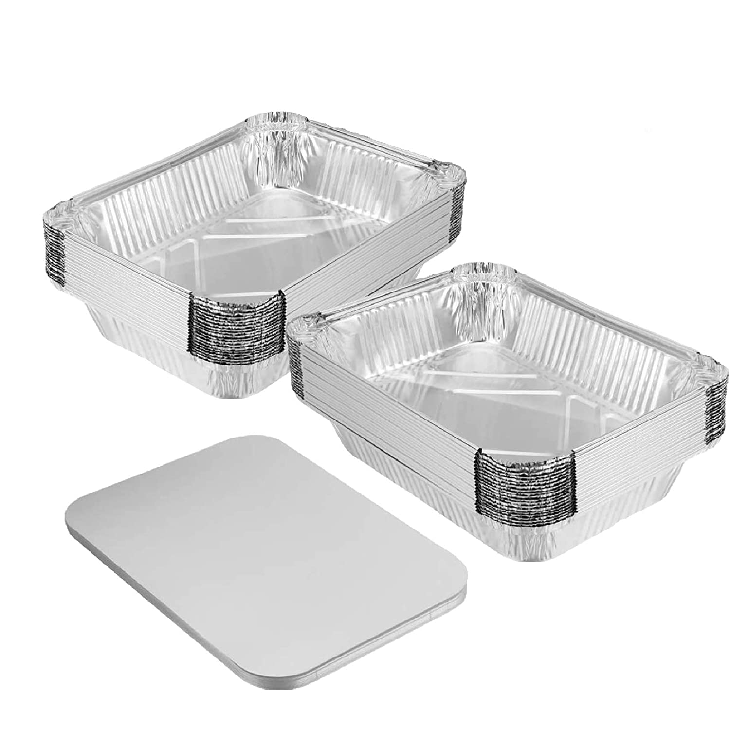 25 Pack-2.5 LB-Foil Pans with Lids-Strong Seal for Freshness-Eco-Friendly and Recyclable-8.6