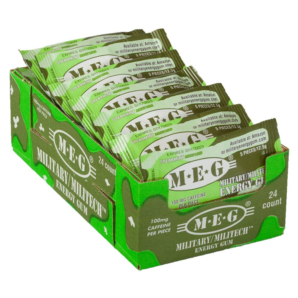 MEG - Military Energy Gum | 100mg of Caffeine Per Piece + Increase Energy + Boost Physical Performance + Spearmint 24 Pack (120 Count) by MEG