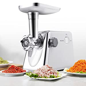 Safstar 1300 Watt Electric Meat Grinder Professional Commercial Home Food Mincer Meat Grind Steel with 3 Grinding Plates (1 Pack)
