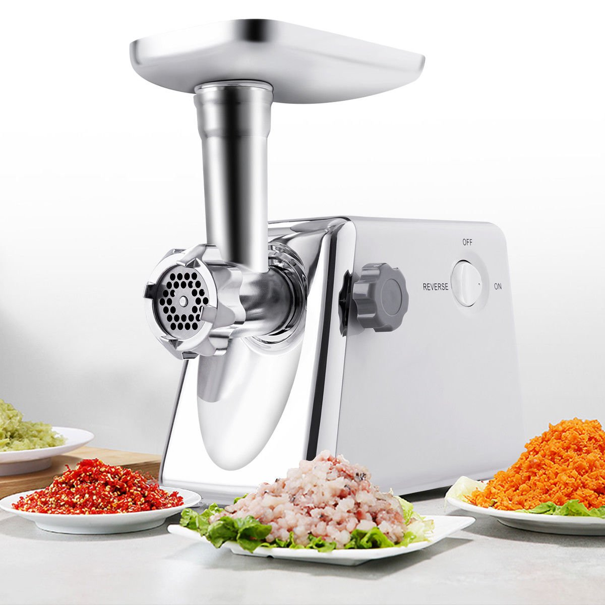 Safstar 1300 Watt Electric Meat Grinder Professional Commercial Home Food Mincer Meat Grind Steel with 3 Grinding Plates