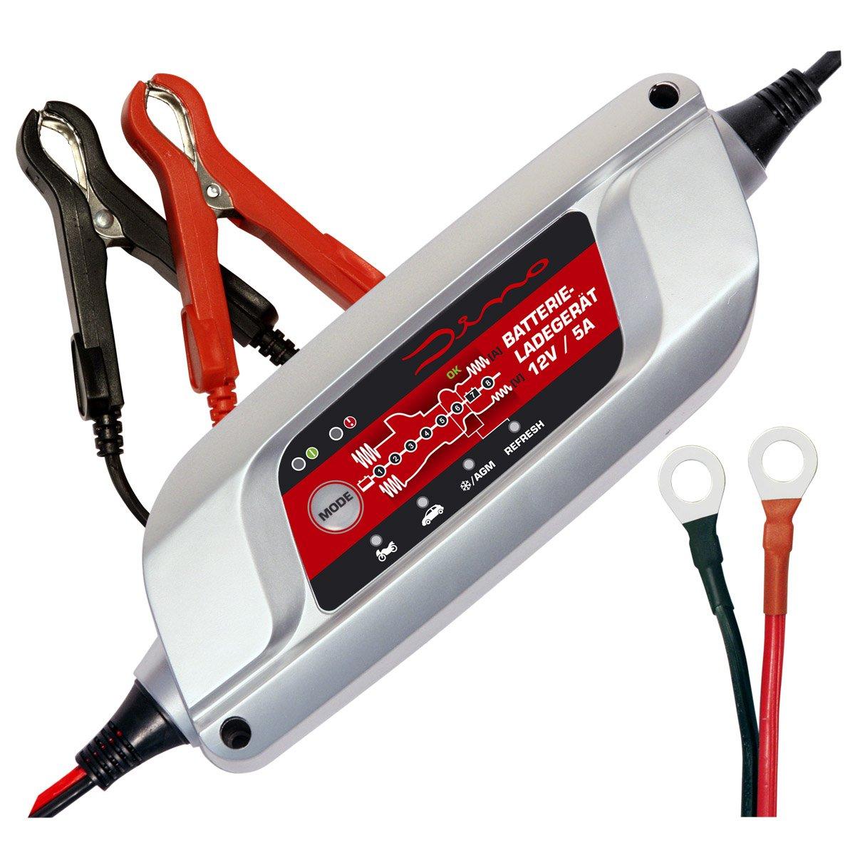 Dino Power Pack Cargador de baterí a 2V-5A para baterí a de automó viles, moto oldtimer starter, baterí a plomo-á cido AGM GEL , 8 etapas batería plomo-ácido AGM GEL r.d.i. Deutschland GmbH 136300