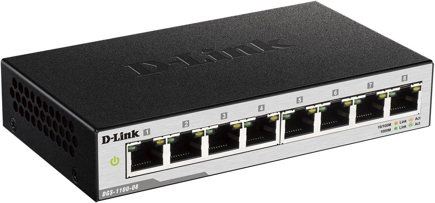 D-Link DGS-1210-24 Managed Gigabit Switch 24 Ports, davon 20 x 10//100//1000 Mbit//s Ports, 4 x Glasfaser SFP//Combo Slots, l/üfterlos und energiesparend