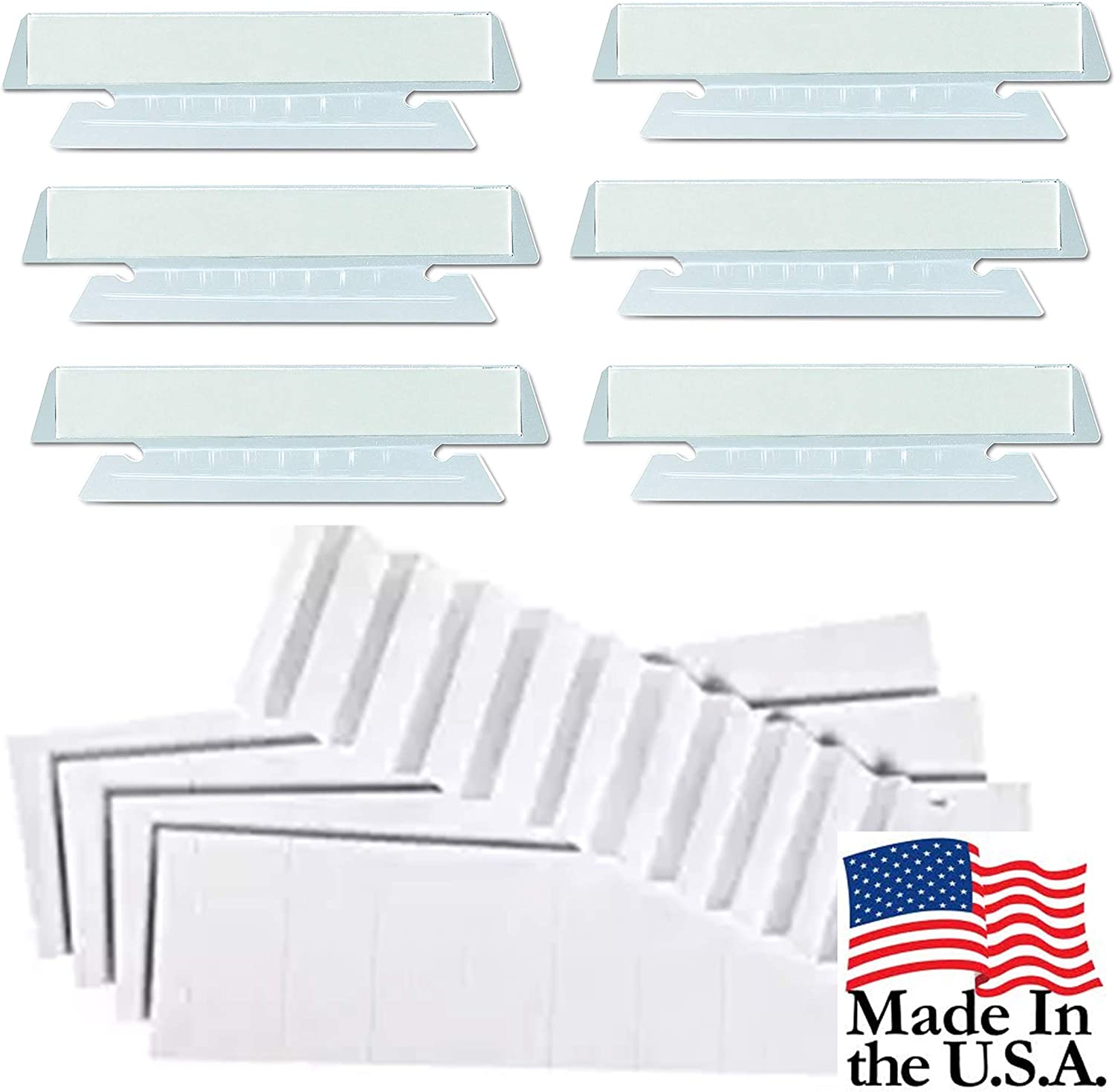 "100 CLEAR 3.5/"" TABS 1//3 cut with Blank White Inserts for HANGING FILE FOLDERS"