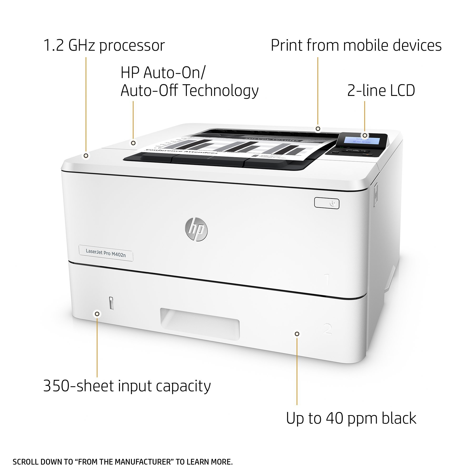 HP Laserjet Pro M402n Monochrome Printer, (C5F93A) (Renewed) by HP (Image #2)