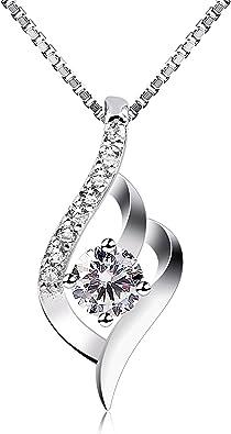 Diament/é B.Catcher Collier Blanc en Argent 925 Zircone cubique Cadeau pour la f/ête des m/ères Saint-Valentin