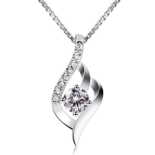 B.Catcher Women Jewellery Eternal Love Necklaces 925 Sterling Silver Cubic Zirconia Knot Pendant,18inch