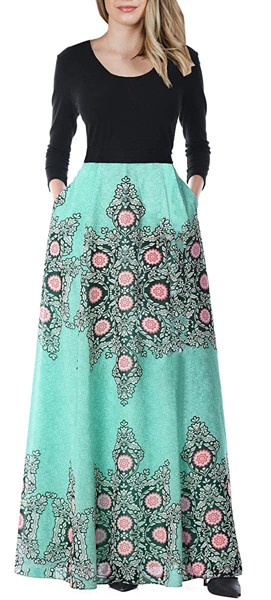 35339fd9677 BOCOTUBE Women s Floral Print Flutter Long Sleeve Dress Maxi Dresses with  Pockets at Amazon Women s Clothing store