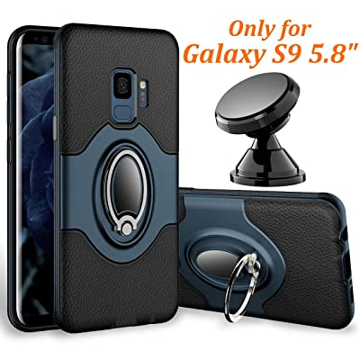 Samsung Galaxy S9 Case - eSamcore Ring Holder Kickstand Cases + Dashboard Magnetic Phone Car Mount [Navy Blue]