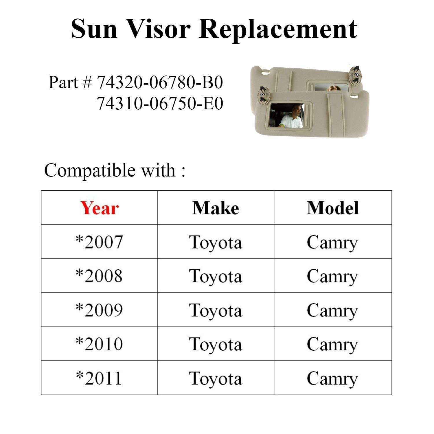 SAILEAD 2 Pack Sun Visor for Toyota Camry 2007 2008 2009 2010 2011 Without Sunroof and Light Gray Left Driver Side /& Right Passenger Side Toyota Camry Hybird Visors