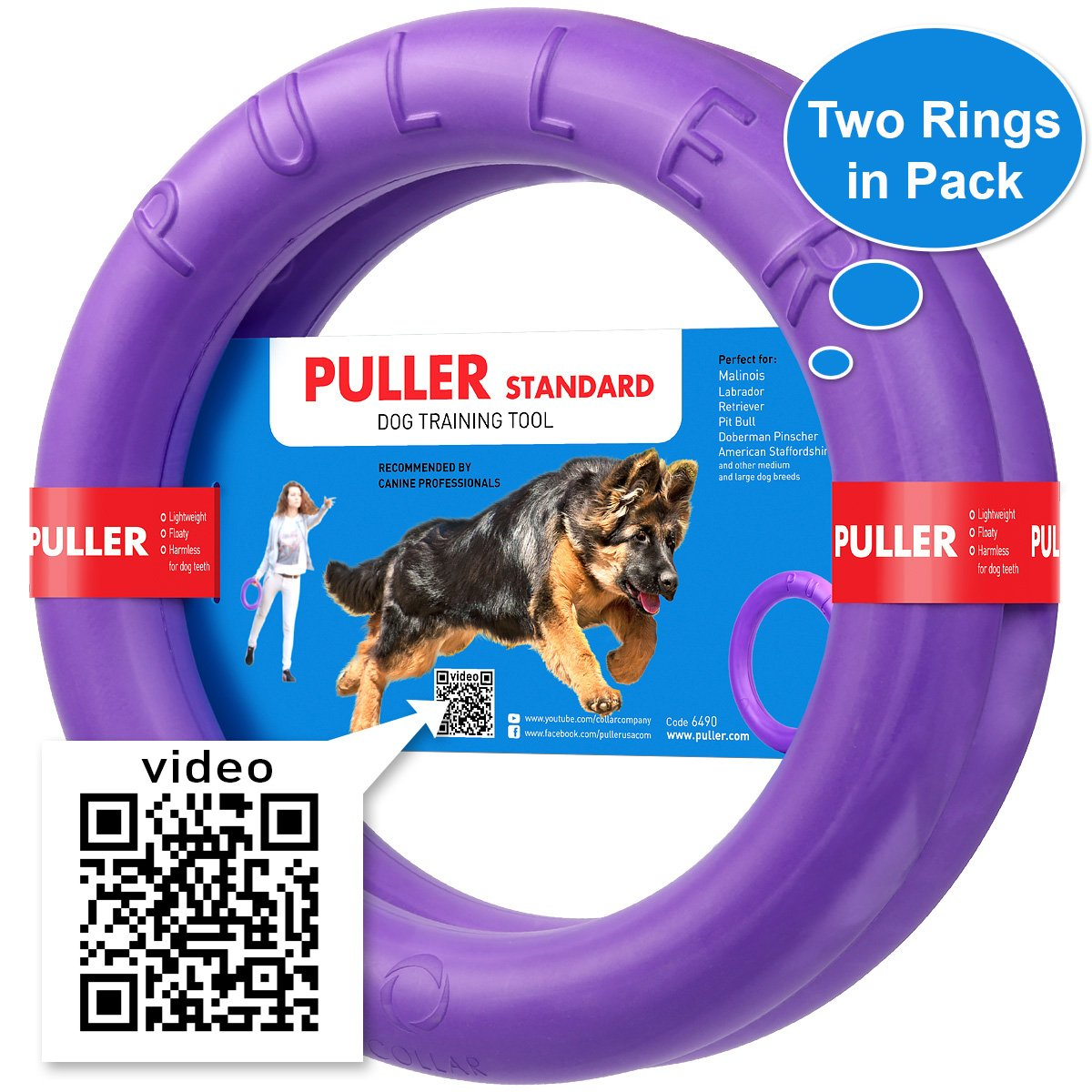 New Version 2018 Dog Training Tools - K9 Training Equipment and Bonus - Large Medium K9 Dog Training tool - Real physical and emotional load your dog - Set 2 Rings by Puller Plus - Size 11.2 inches by COLLAR
