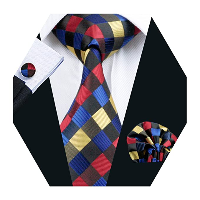 Barry.Wang Pañuelo de bolsillo de corbata de seda negro rojo para ...