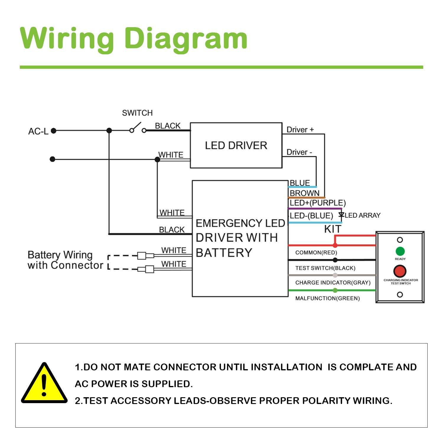 Hykolity 15w 25 48vdc Led Emergency Backup Battery Rechargable Array Wiring Diagram Driver For 15 225w Light With External 90 Minutes Min