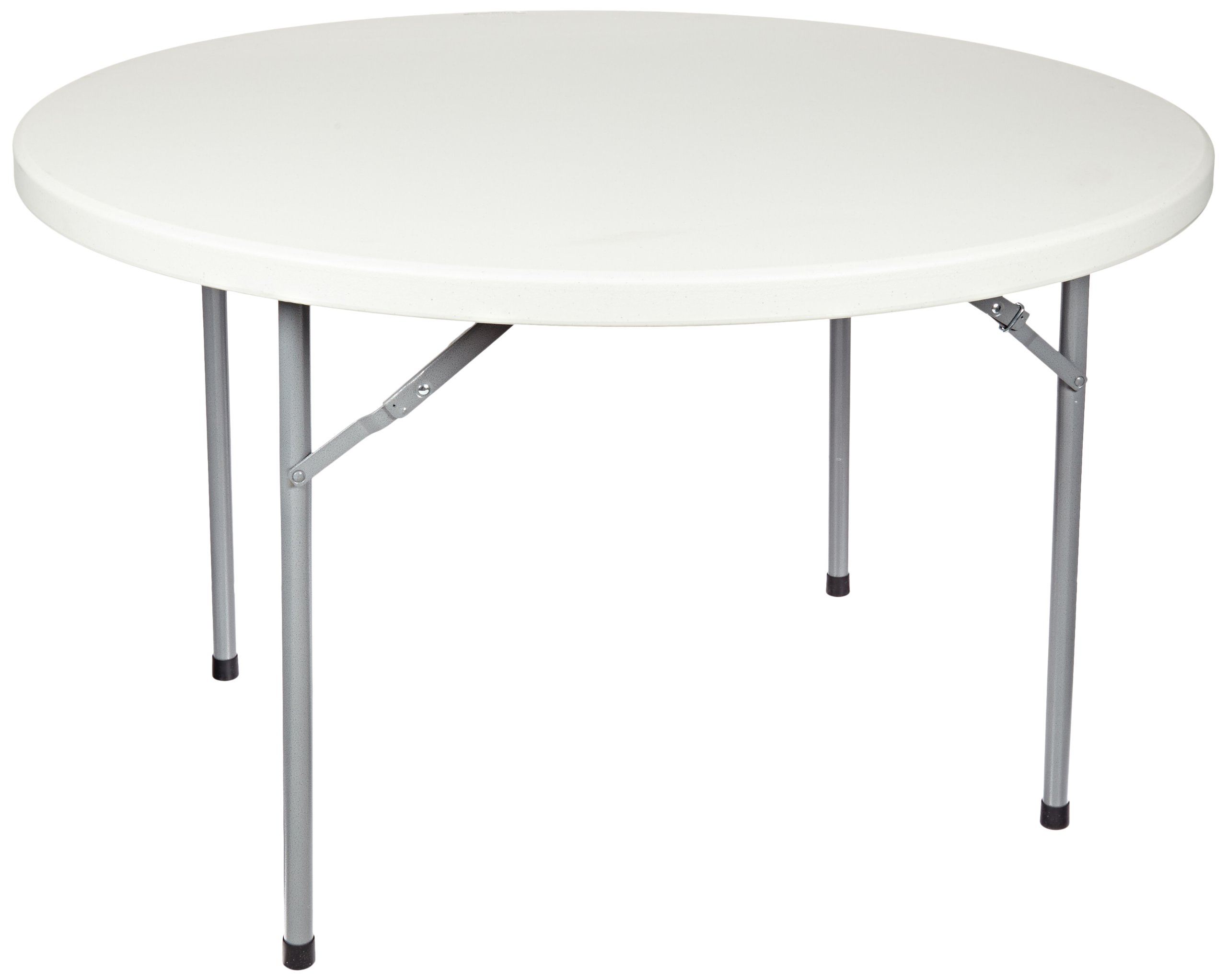 National Public Seating BT-R Series Steel Frame Round Blow Molded Plastic Top Folding Table, 700 lbs Capacity, 48'' Diameter x 29-1/2'' Height, Speckled Gray/Gray