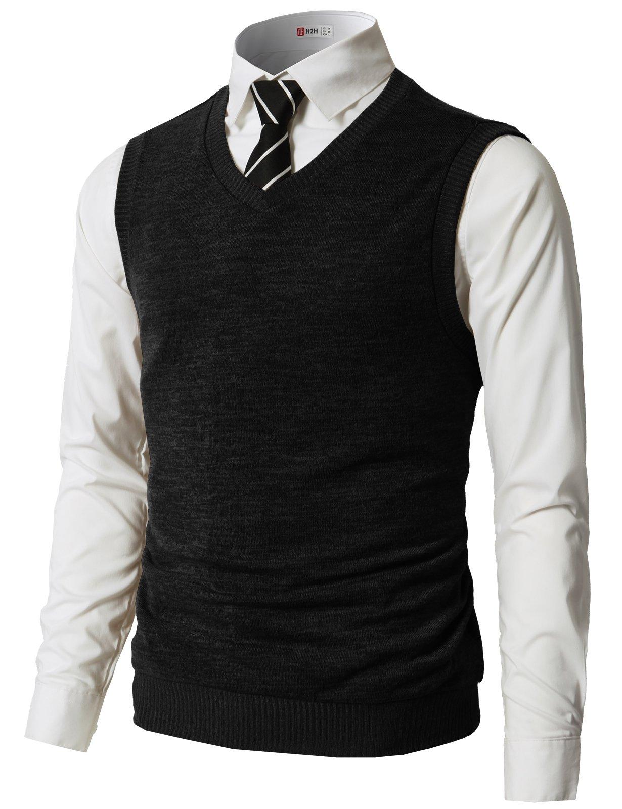 H2H Men's Pima Cotton Solid Button Front Cardigan Vest Of Various Colors Black US 3XL/Asia 4XL (CMOV042)