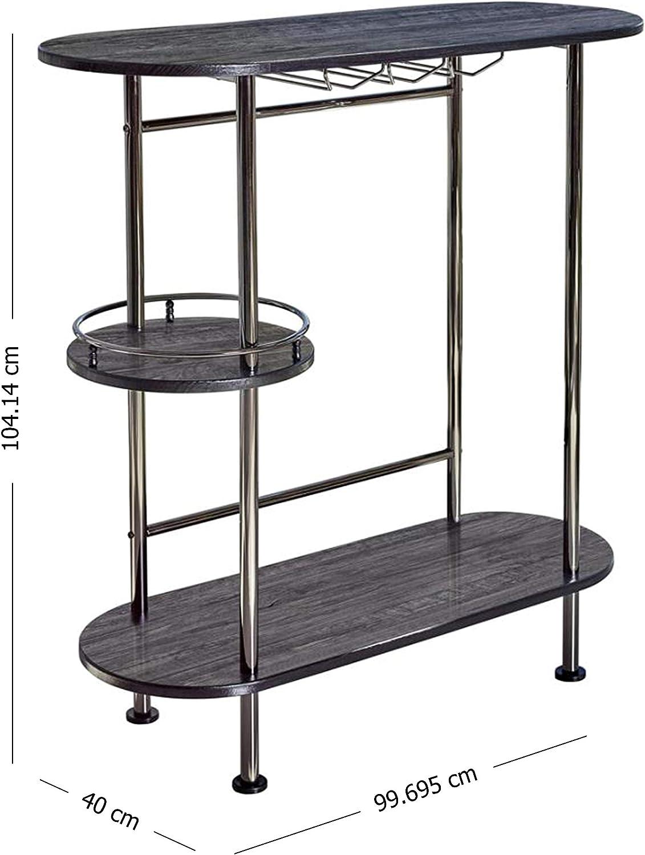 Black Oak//Black Nickel Coaster Home Furnishings Modern Pub Height Bar Table with Stemware Rack /& Storage Shelves
