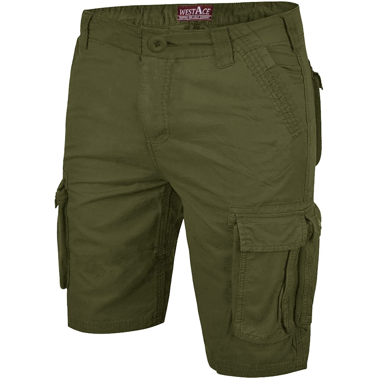 WestAce Mens Camo Shorts Cargo Combat Army Half Pant Work Wear Camouflage 100/% Cotton Chino Shorts