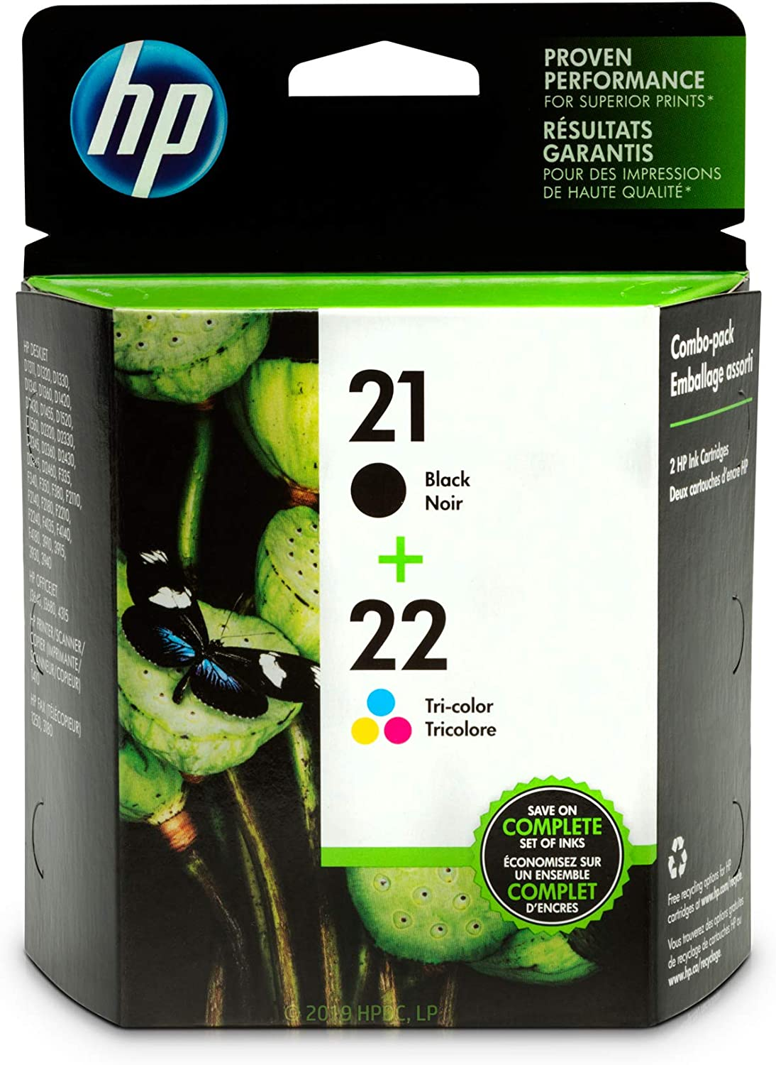 HP 21 | 2 Ink Cartridges | Black, Tri-color | C9351AN, C9352AN, toner
