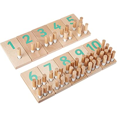Holz & Schnüdel Wooden Montessori Peg Board Counting Set, Educational Math Toy for Boys and Girls Ages 2 Years and up, Modern Nordic Design. Sustainable Materials for Toddlers and Preschool Kids.: Toys & Games