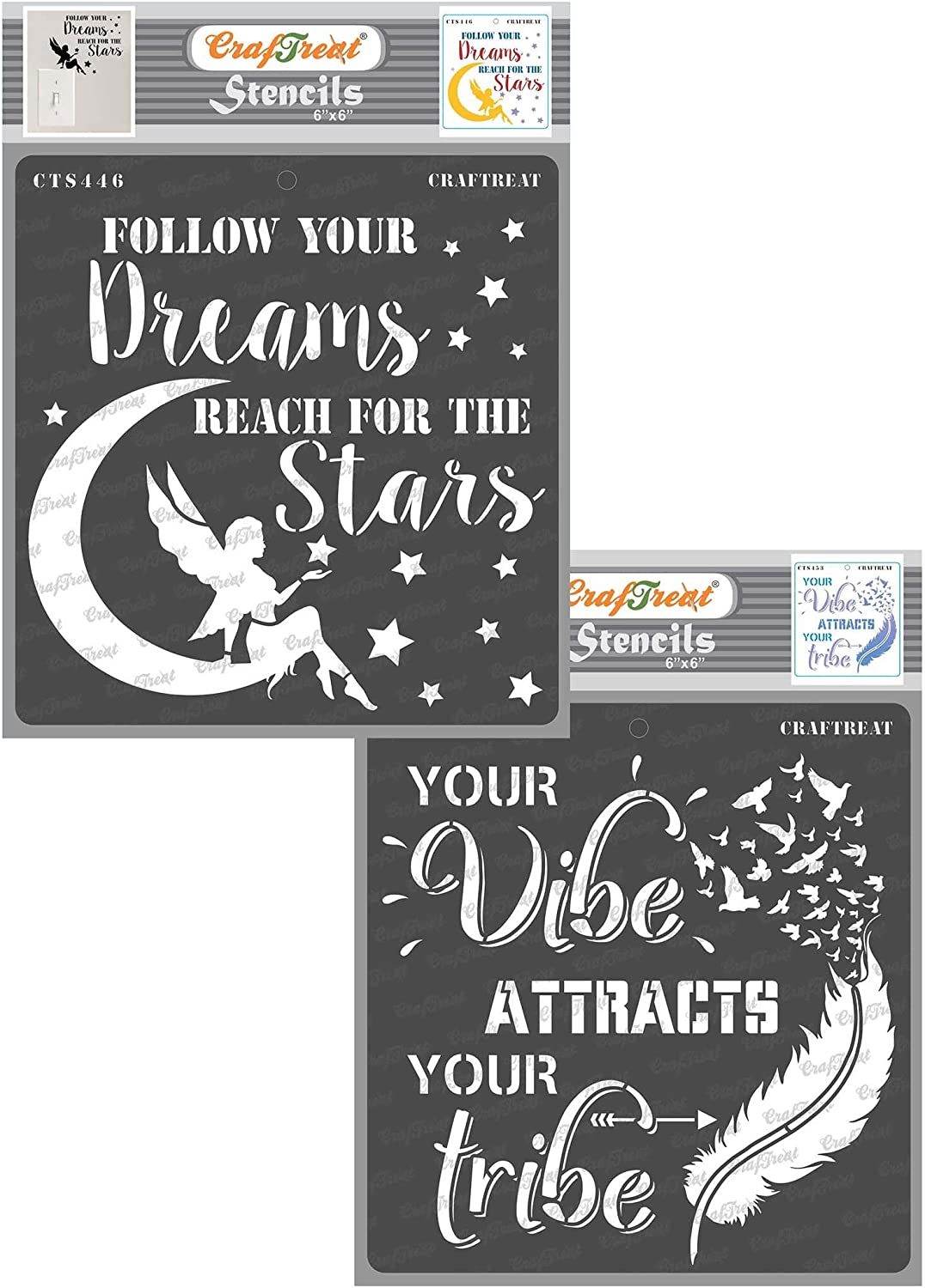CrafTreat Stencils for Painting on Wood, Paper, Fabric, Wall and Tile - Reach for The Stars and Vibe Attracts Tribe - 2 Pcs - 6x6 Inches Each - Reusable DIY Art and Craft Stencils for Home Decor