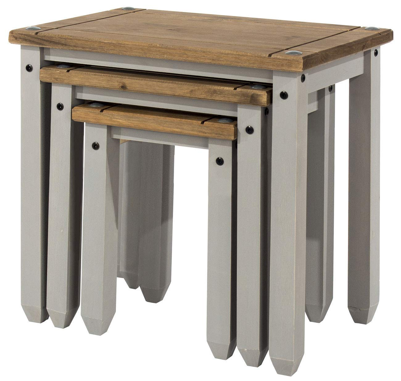 Core Products Corona Grey Nest of Tables Distressed Waxed Pine Finish