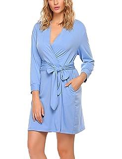 HOTOUCH Femme Robe de Chambre Kimono Peignoir de Bain Pyjama Chemise de  Nuit en Coton S acc0a58d6b5