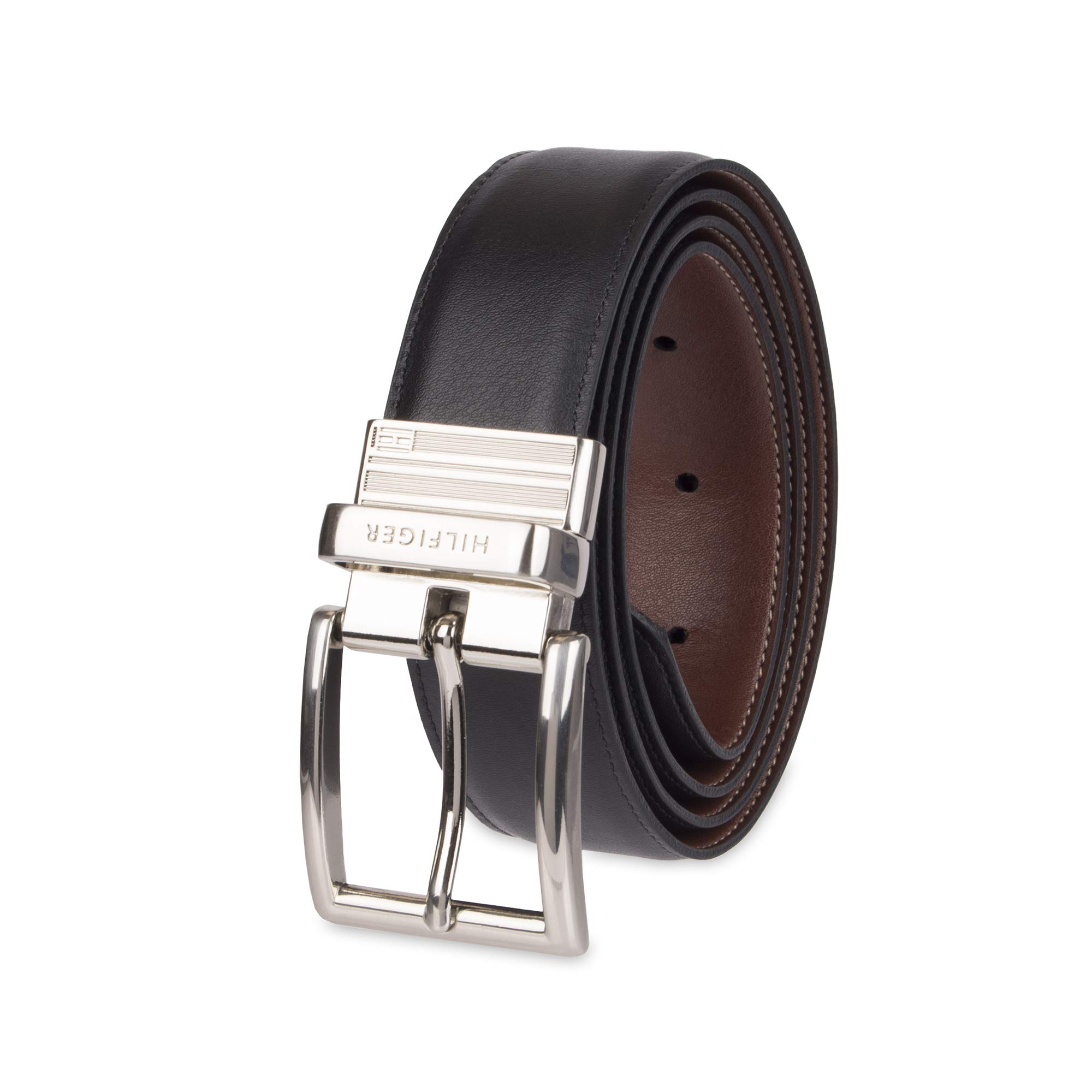 51cef4e142c4 Galleon - Tommy Hilfiger Reversible Leather Belt - Casual For Mens Jeans  With Double Sided Strap And Silver Buckle