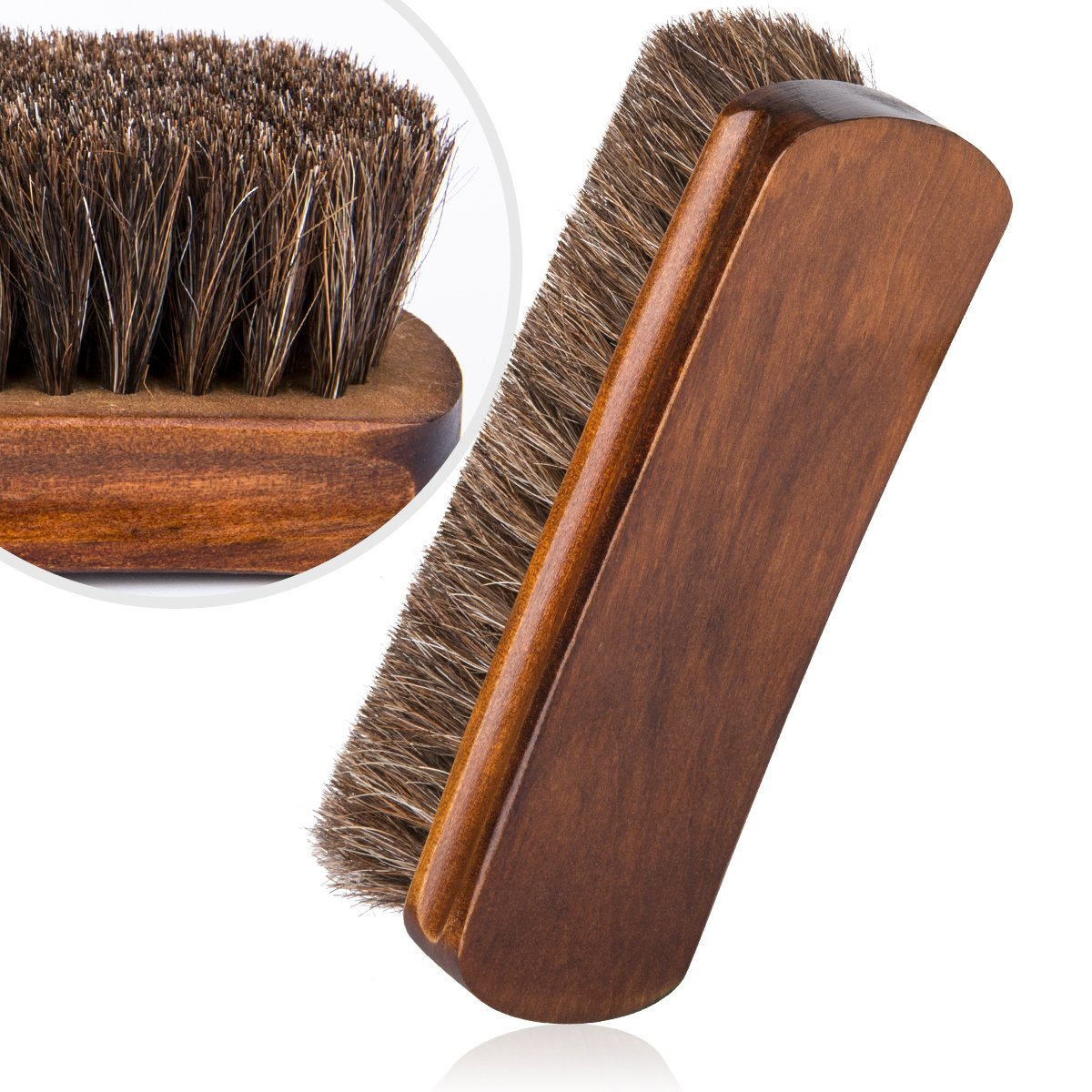 6.7'' Horsehair Shoe Brushes with Horse Hair Bristles for Boots, Shoes & Other Leather Care, 2 Pack (Brown) by Foloda (Image #6)