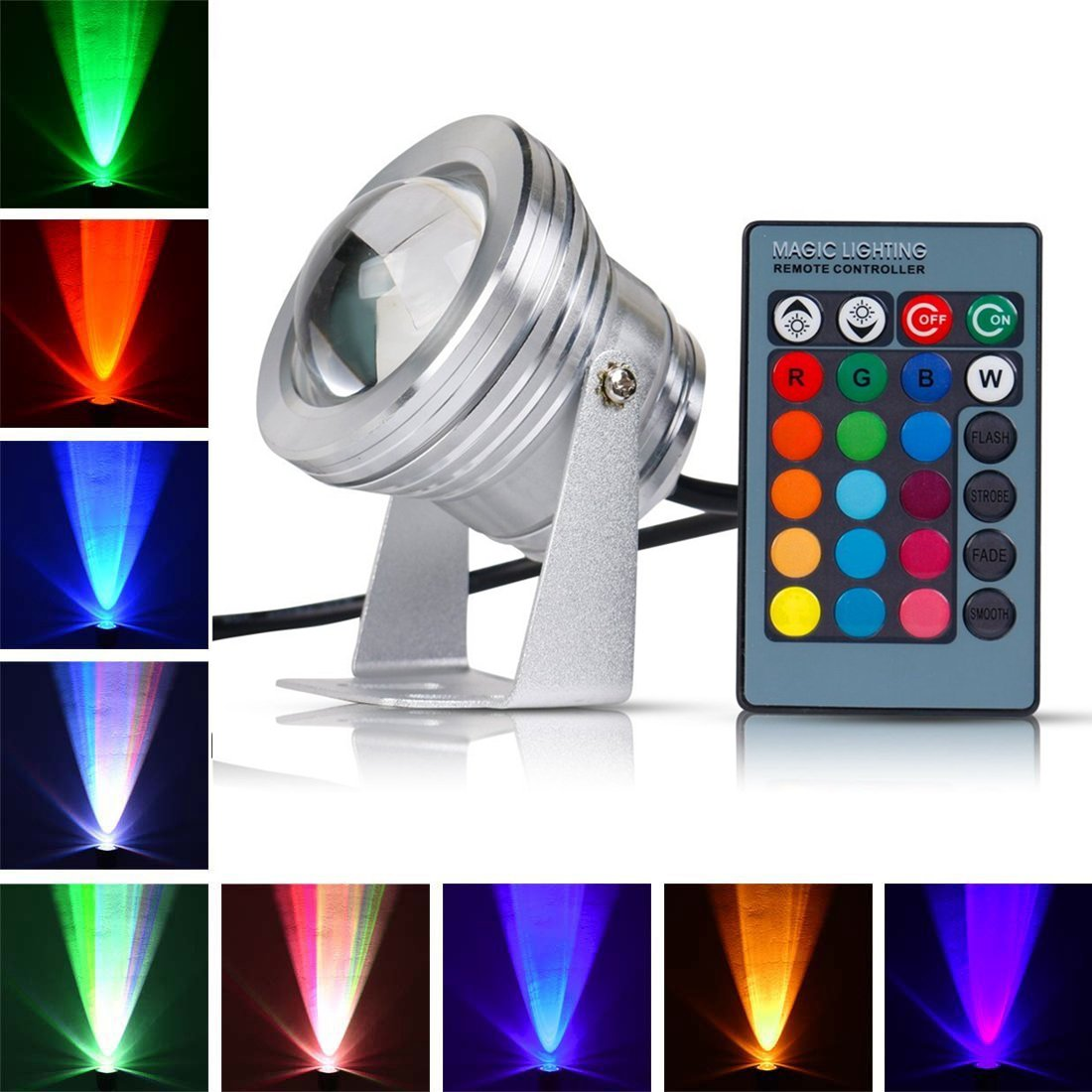 Remote Control 10w 12v Water resistant RGB Underwater Light Lamp for Landscape Fountain Pond Lighting Outdoor Security Color Changing LED Light with 24Key Remote Control (Silver)