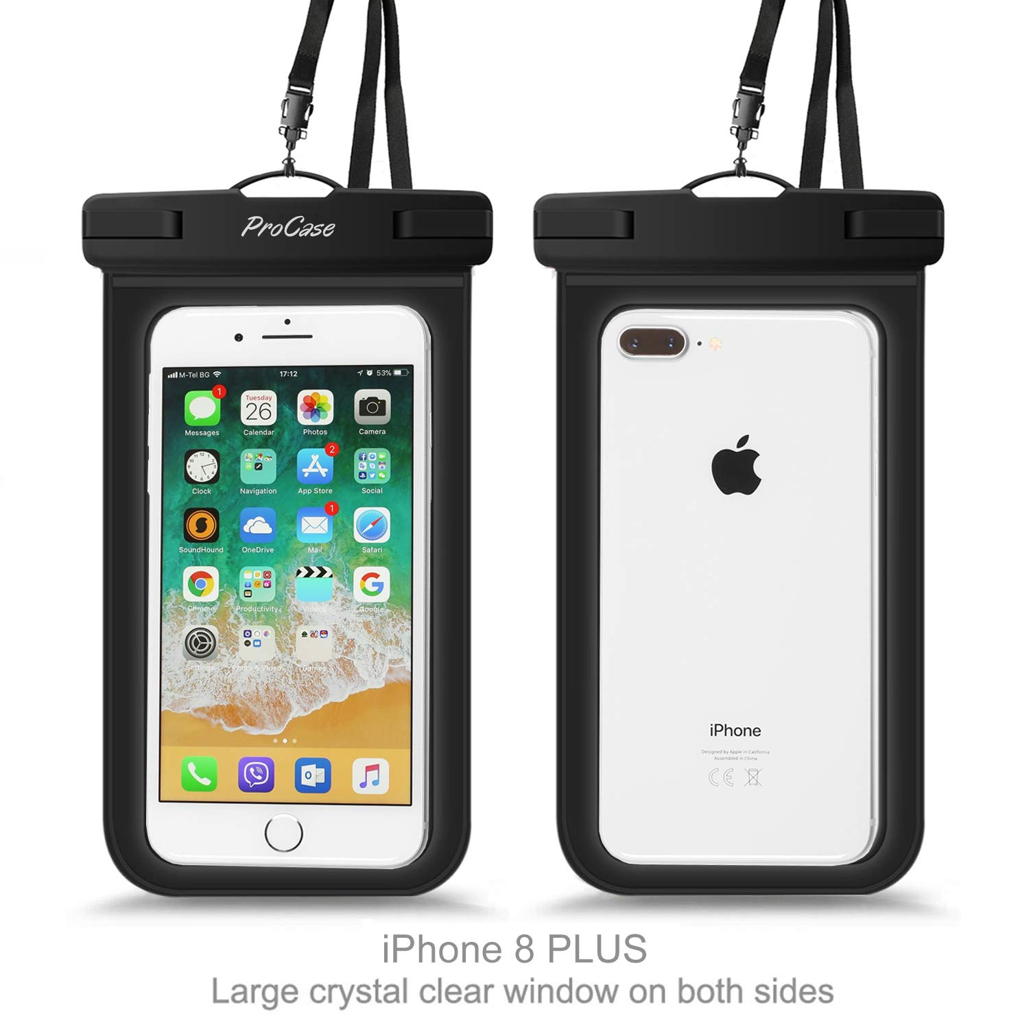 Galaxy S10 Plus S10e S9 S8 +//Note 9 8 Pixel 3a 2 XL up to 6.5-2 Pack ProCase Universal Waterproof Pouch IPX8 Waterproof Cellphone Dry Bag Underwater Case for iPhone Xs Max XR X 8 7 6S Plus Black